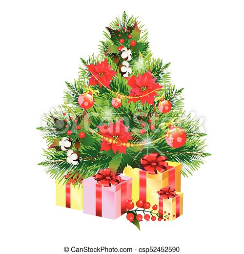 Christmas tree with flowers, on a white - csp52452590