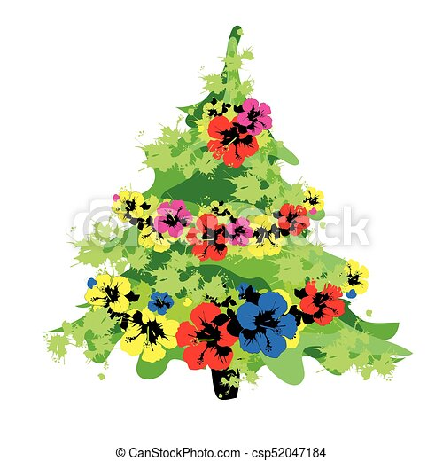 Christmas tree with flowers, on a white - csp52047184