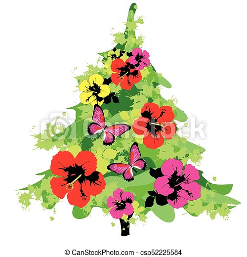 Christmas tree with flowers, on a white - csp52225584
