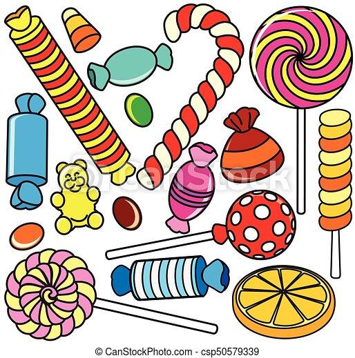 Collection of Cartoon Candy. Contour Illustration - csp50579339