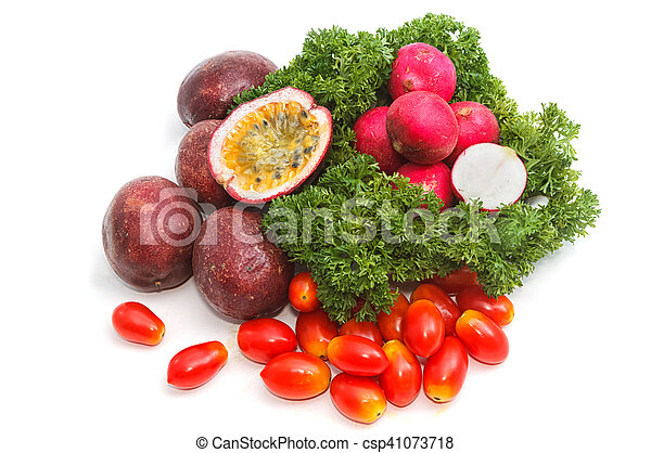 collection of fruits and vegetables on white background - csp41073718