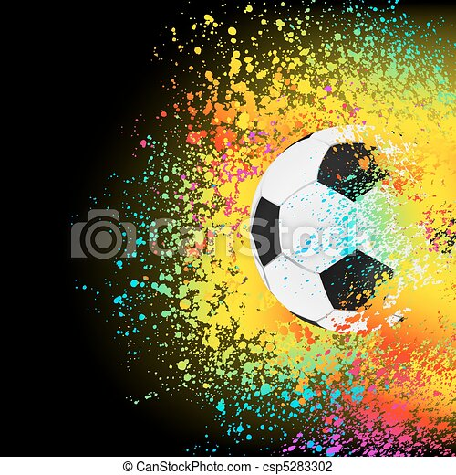 Colorful background with a soccer ball. EPS 8 - csp5283302