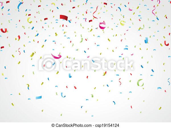colorful confetti on white - csp19154124