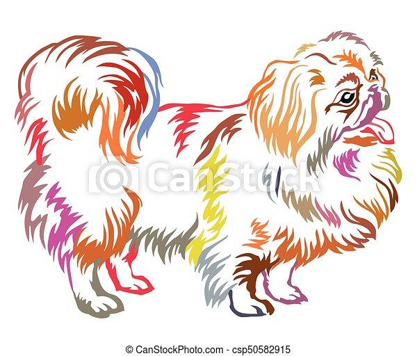 Colorful decorative standing portrait of dog Pekingese vector illustration - csp50582915