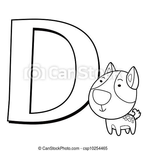 Coloring Alphabet for Kids, D - csp10254465