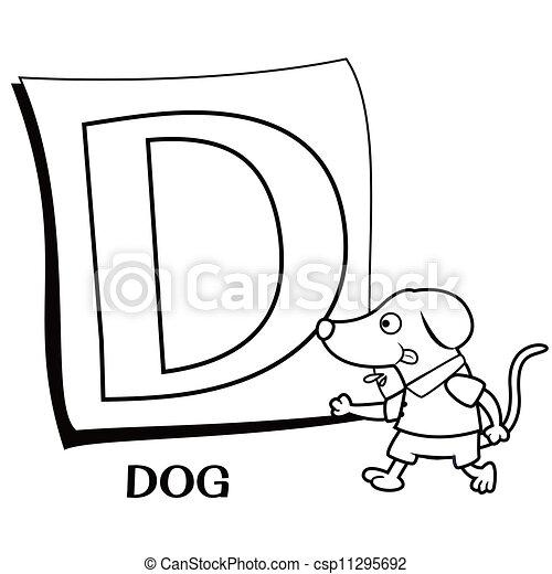 Coloring Alphabet for Kids, D - csp11295692