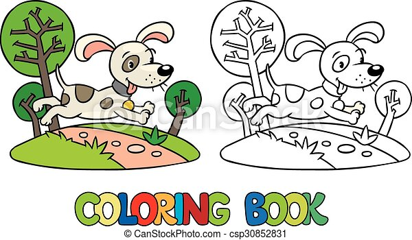 Coloring book of little dog or puppy - csp30852831