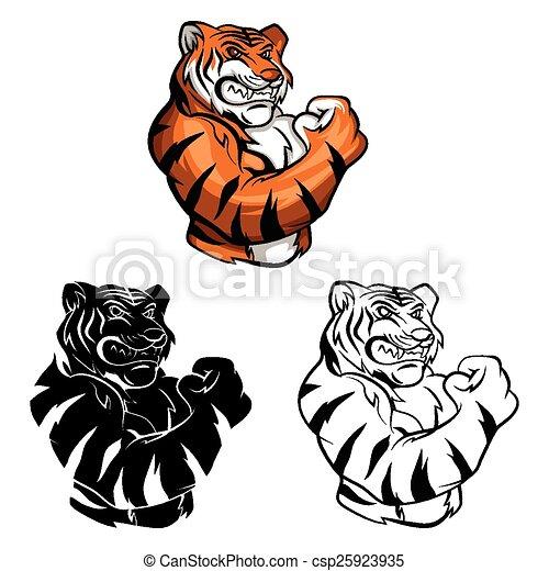 Coloring book Tiger character - csp25923935