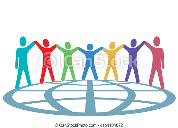 Colors People Hold Hands and Arms Up on Globe - csp4104672