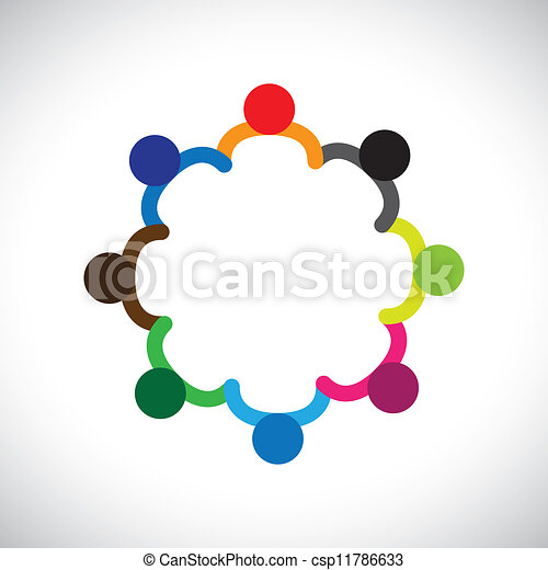 Concept of kids playing, teamwork and diversity. The graphic contains children holding hands & forming a circle. This can also represent concept of corporate team and teamwork & also people diversity - csp11786633