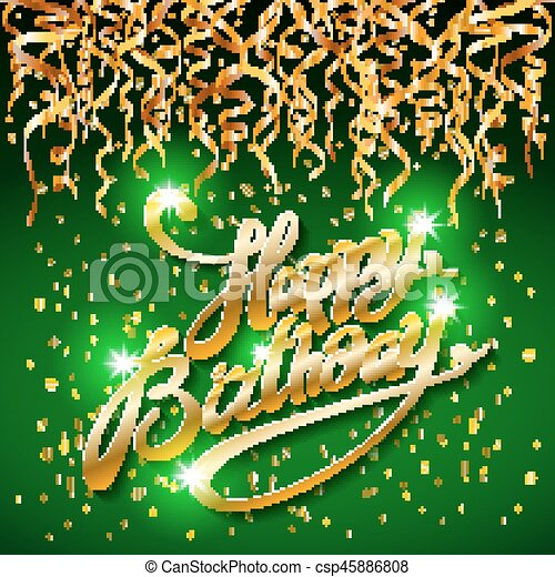 concept party on green dark background top view happy birthday gold confetti vector - modern flat design style - csp45886808