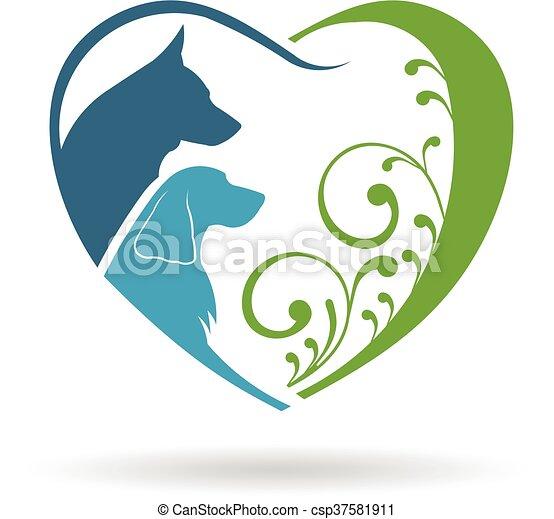 Couple Dogs love heart. Vector graphic design - csp37581911