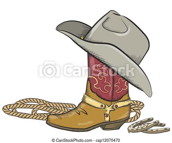 Cowboy boot with western hat isolated on white - csp12070470