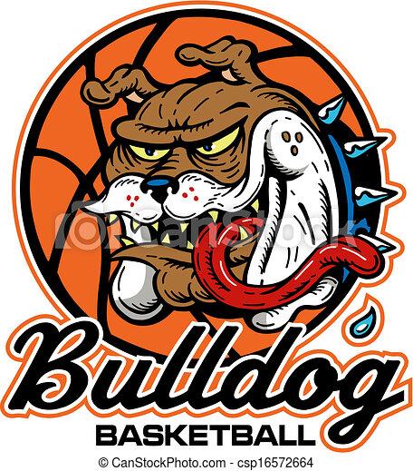 crazy bulldog basketball logo - csp16572664