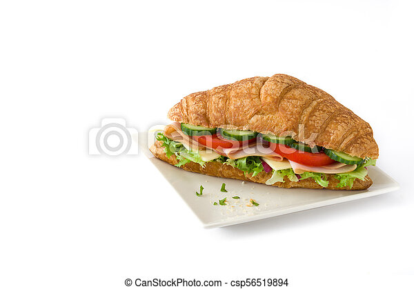 Croissant sandwich with cheese, ham and vegetables. Isolated on white background - csp56519894