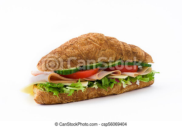 Croissant sandwich with cheese, ham and vegetables. Isolated on white background - csp56069404