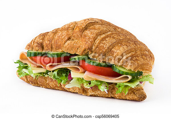 Croissant sandwich with cheese, ham and vegetables. Isolated on white background - csp56069405