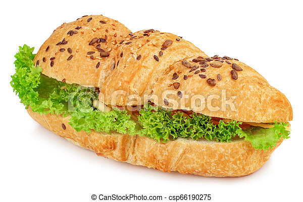 croissant sandwich with cheese isolated on white background - csp66190275