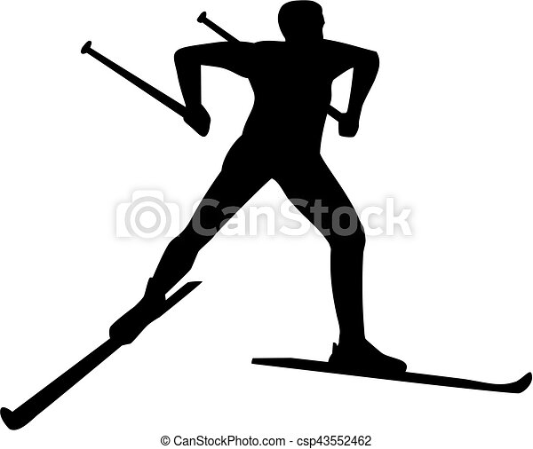 Cross country skier silhouette - csp43552462