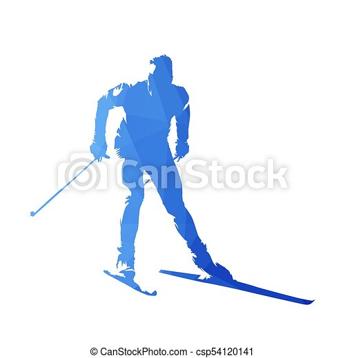 Cross-country skiing, abstract geometric vector silhouette - csp54120141