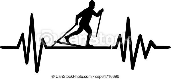 Cross country skiing heartbeat line german - csp64716690