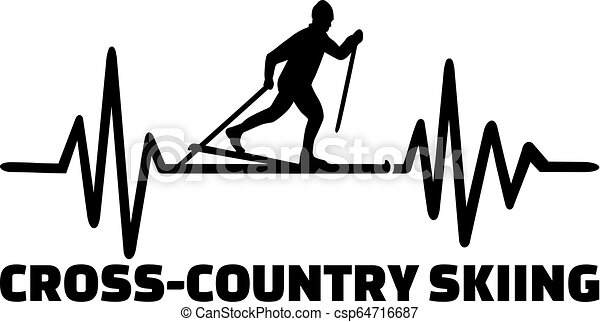 Cross country skiing heartbeat line - csp64716687