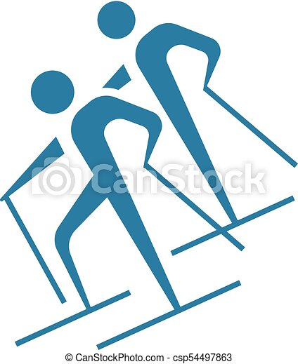 Cross-country skiing icon - csp54497863