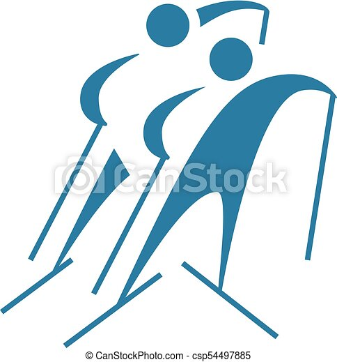 Cross-country skiing icon - csp54497885