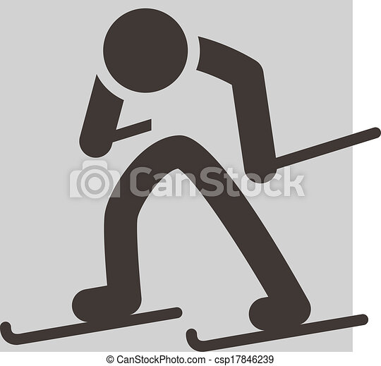 Cross-country skiing icon - csp17846239
