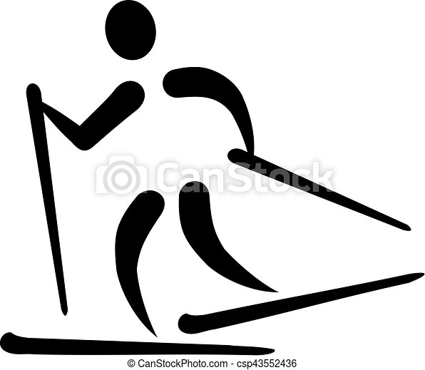 Cross country skiing icon - csp43552436