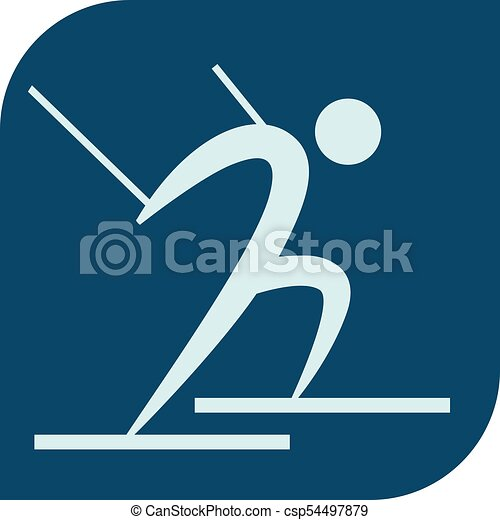 Cross-country skiing icon - csp54497879