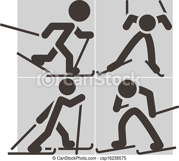 Cross-country skiing icons - csp16238575