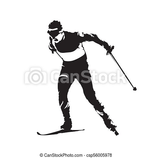 Cross country skiing, individual winter sport. Skier abstract vector silhouette - csp56005978