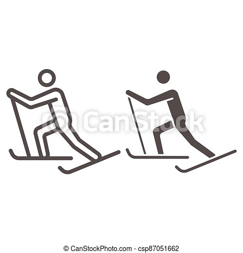 Cross-country skiing line and solid icon, Winter sport concept, skier sign on white background, Cross country skier icon in outline style for mobile concept and web design. Vector graphics. - csp87051662