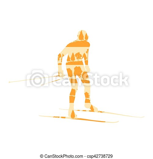 Cross country skiing man vector background abstract concept made of forest trees fragments isolated - csp42738729