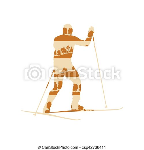 Cross country skiing man vector background abstract concept made of forest trees fragments isolated - csp42738411