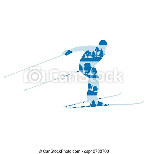 Cross country skiing man vector background abstract concept made of forest trees fragments isolated - csp42738700
