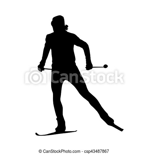 Cross country skiing vector silhouette - csp43487867