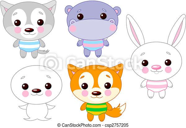 Cute animal set 03 - csp2757205