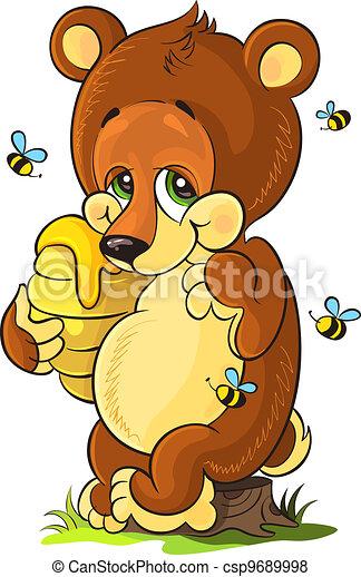 Cute bear cub with honey - csp9689998