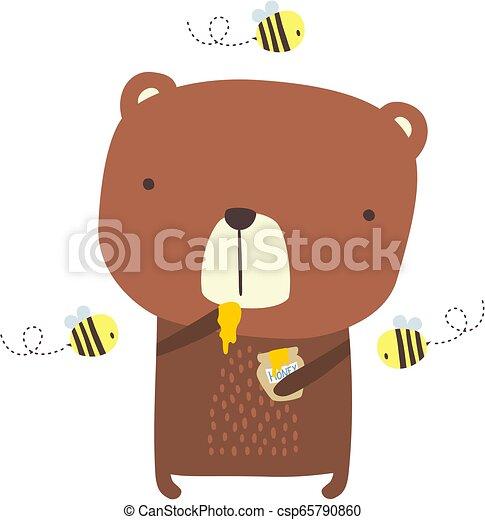 cute bear honey bees - csp65790860