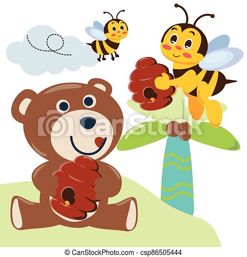 Cute bear with honey. Bear and bees. with cartoon style. - csp86505444