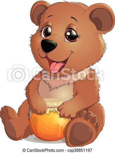 Cute Bear with Honey - csp38851197