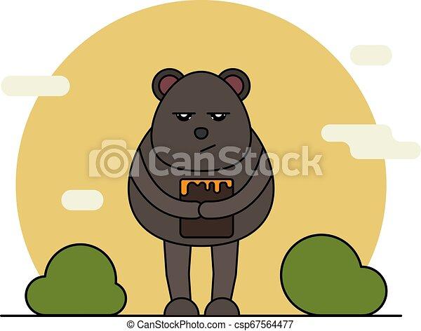 Cute bear with honey in cartoon style. - csp67564477