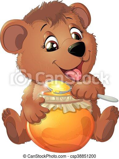 Cute Bear with Honey - csp38851200