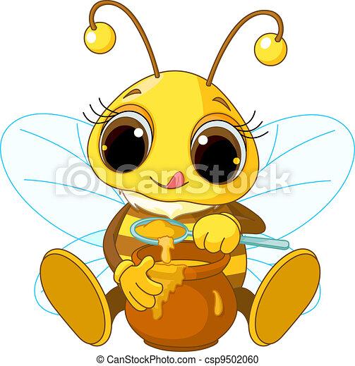 Cute Bee eating honey - csp9502060