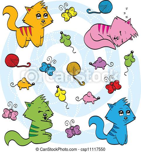 Cute cartoon cats - csp11117550