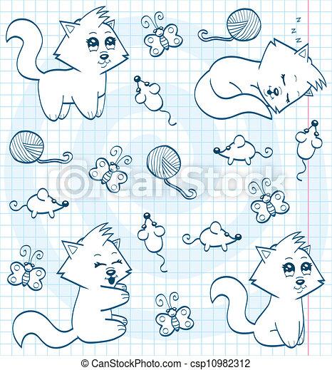 Cute cartoon cats (coloring book) - csp10982312