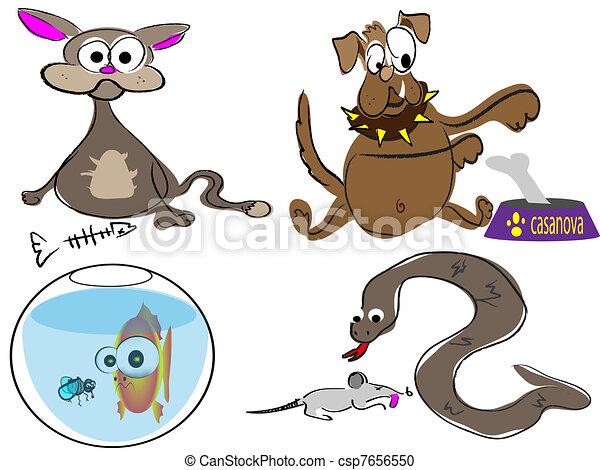 cute cartoon pets, funny animals - csp7656550