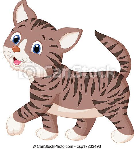 Cute cat cartoon walking - csp17233493